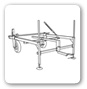 Log transfer deck with wheels Combined machine: Log splitter + Chain saw